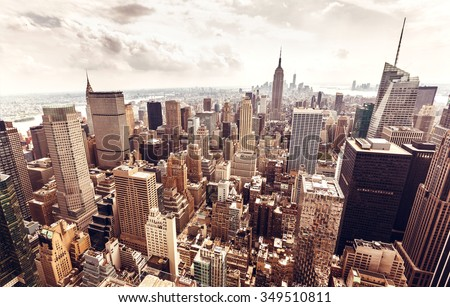 NEW YORK, USA - AUGUST 12, 2013: Manhattan aerial view with Empire State building in New York City. Empire State is a 102-story landmark and was world's tallest building for more than 40 years. #349510811