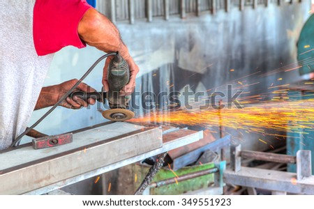 hot sparks at grinding steel material #349551923