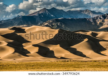 Great Sand Dunes National Park Colorado at Sunset  Royalty-Free Stock Photo #349793624