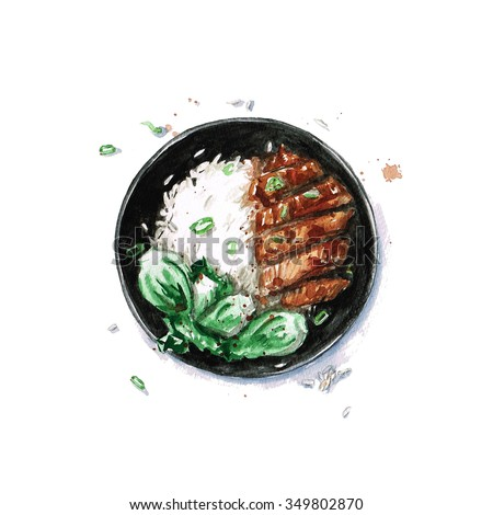 Rice and Chicken - Watercolor Food Collection