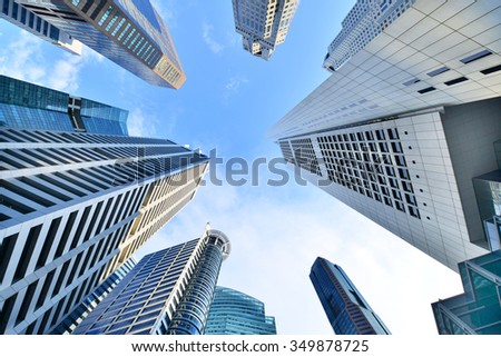 Central Business District in Singapore. Banking in Singapore is a service industry that has grown significantly in recent years. Singapore is home to over 200 banks. Royalty-Free Stock Photo #349878725