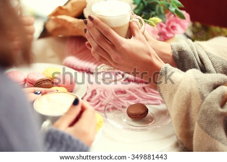 Women meeting in cafe and drinking latte #349881443