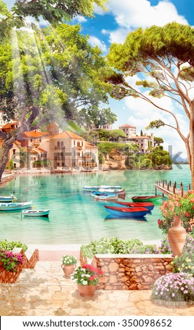 Beach with boats #350098652
