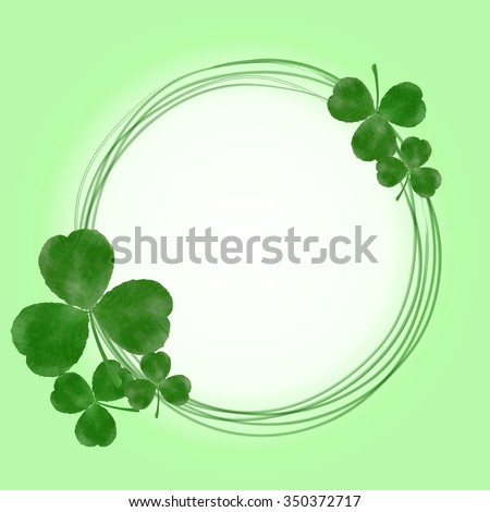 Lucky three-leaf clover shamrock circular frame. Vector Happy Saint Patrick's Day Background with watercolor clover #350372717