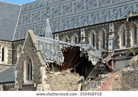 CHRISTCHURCH - DEC 06 2015:ChristChurch Cathedral.The February 2011 Christchurch earthquake destroyed the spire and part of the tower, and severely damaged the structure of the remaining building. #350468918