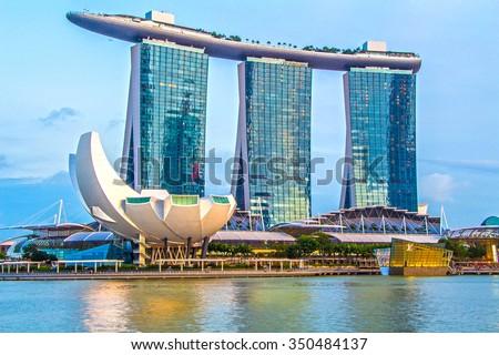 SINGAPORE-Feb 7, 2015: Marina Bay Sands Hotel Royalty-Free Stock Photo #350484137