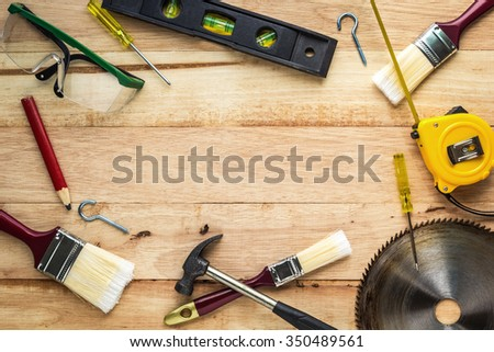 Carpenter tools on wood board, Use for as background #350489561