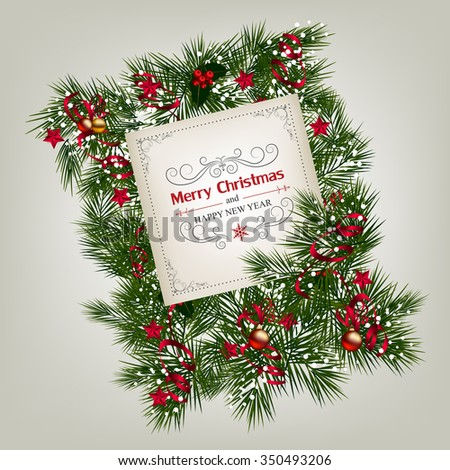 Christmas background with decoration and paper.Christmas frame with holly and ribbon #350493206