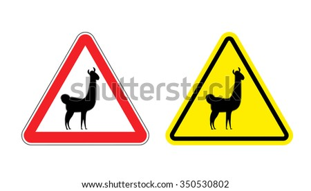 Warning sign attention Lama. Hazard yellow sign wild animal. Alpaca llama on a red triangle. Set  Road signs