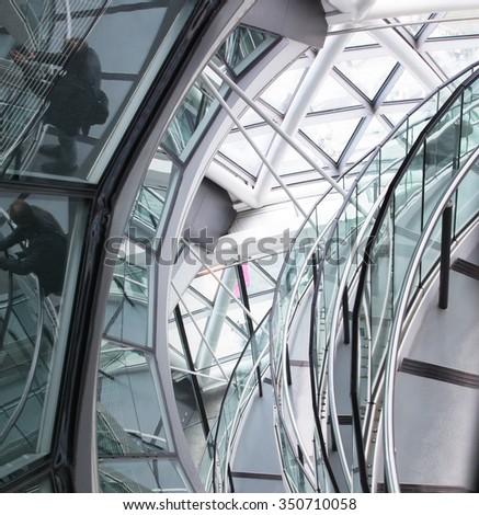 LONDON UK - SEPTEMBER 19, 2015 - City Hall Staircase, Mayor of London #350710058