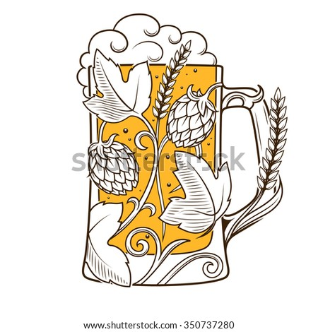 Beer mug abstract ornament raster illustration. Engraving style