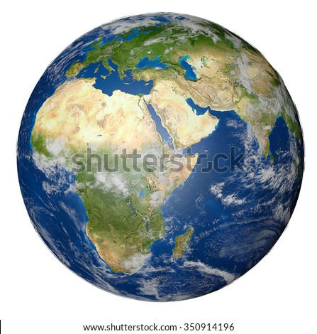 Earth globe isolated on white background. Elements of this image furnished by NASA #350914196