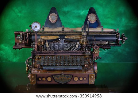 Steampunk style future Typewriter. Keyboard with the pre-revolutionary Russian typeface. (Till 1918) Hand/home made model. #350914958