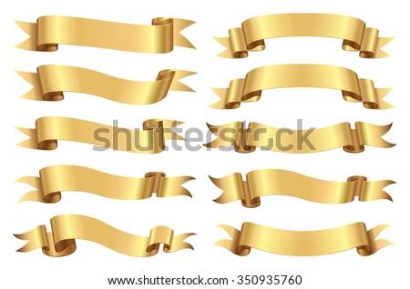 Golden ribbon set. Royalty-Free Stock Photo #350935760