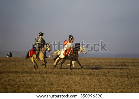 TVAROZNA, CZECH REPUBLIC - DECEMBER 5, 2015: History fans in military costumes reenact the Battle of Three Emperors on December 5, 2015 in Tvarozna, Czech Republic. #350996390