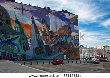 LODZ, POLAND - DECEMBER 05, 2015: Cityview mural on the wall on Piotrkowska Street, Lodz, Poland #351123581