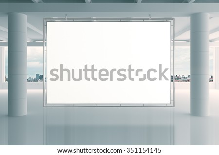 Blank white banner in modern empty open space office with big windows and pillars, mock up 3D Render