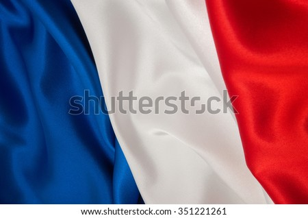 Flag of France on satin texture Royalty-Free Stock Photo #351221261