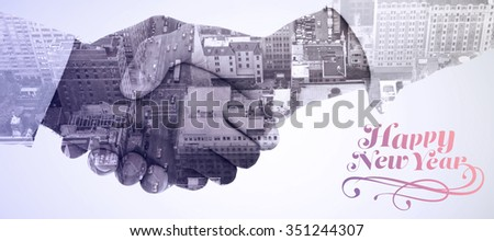 Elegant happy new year against composite image of close-up shot of a handshake in office