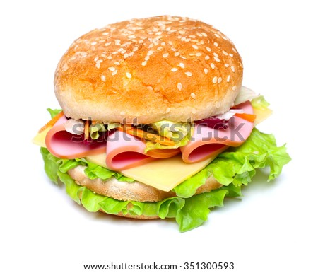 isolated burger sandwich with sausage, lettuce and cheese on the white background #351300593