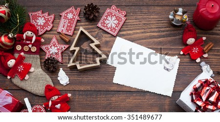 Vintage Christmas decorations and cards with copyspace on wooden background #351489677