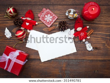Red Christmas decorations on rustic wooden background #351490781