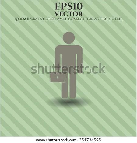 Businessman holding briefcase vector icon or symbol #351736595