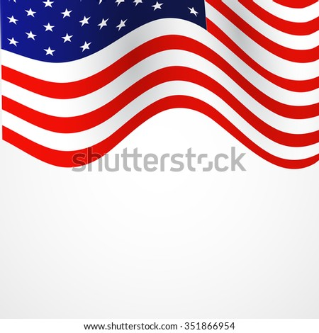 Closeup of American flag on white background #351866954