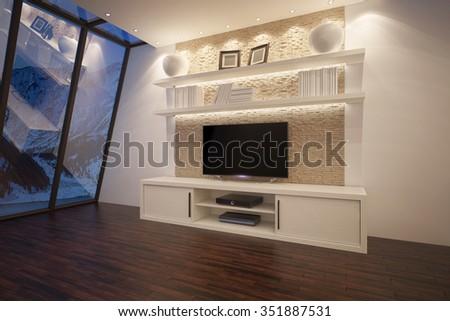 3D illusrtation of TV unit with shelves and backlight #351887531