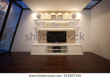 3D illusrtation of TV unit with shelves and backlight #351887540