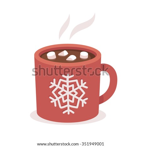 Hot chocolate cup with marshmallows, red with snowflake ornament. Christmas greeting card design element. Isolated vector illustration. Royalty-Free Stock Photo #351949001