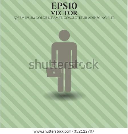 Businessman holding briefcase icon vector illustration #352122707