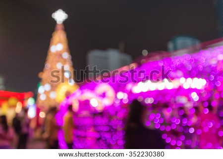 blurred christmas tree decoration with light  #352230380