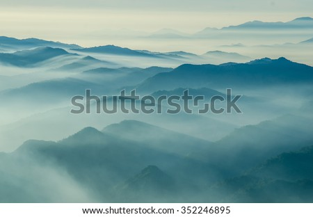 Layers of mountain,Thailand  #352246895