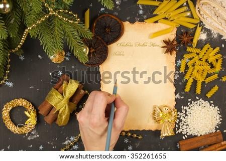 Christmas festive menu.Background #352261655