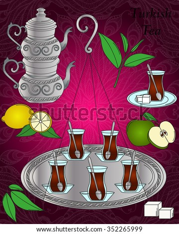 Vector tea line icon set. Vector turkish tea set. Apple, Lemon, Tea leaf