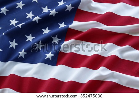 Closeup of ruffled American flag Royalty-Free Stock Photo #352475030