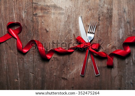 Christmas table place setting. Holidays background #352475264