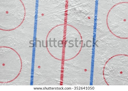 The layout of the ice hockey arena. Concept, hockey, background
