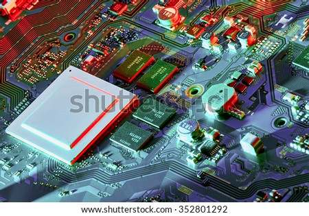 Electronic circuit board close up. #352801292