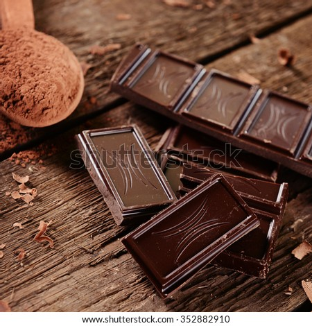 Chocolate on wooden background #352882910