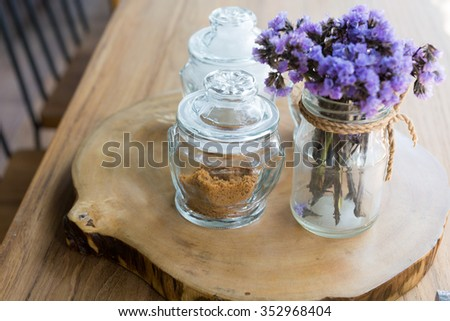 coffee sugar in  glass  on wood table #352968404