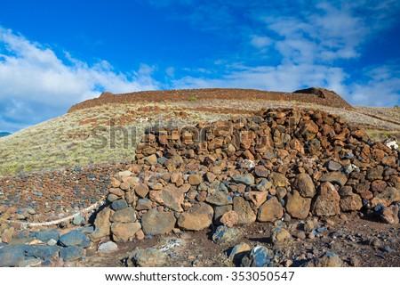 The ruins of the major Hawaiian temple at the Pu'ukohola Heiau National Historic Site, Big Island, Hawaii #353050547