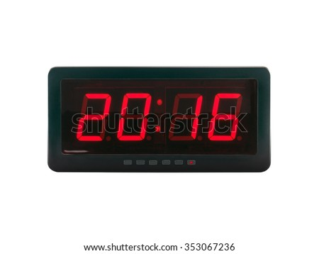 close up red led light illumination numbers 2016 on black digital electric alarm clock face isolated on white background, time symbol concept for celebrating the New Year #353067236