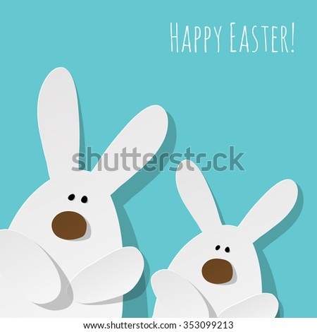 Happy Easter Postcard 2 Bunnies on a turquoise background. #353099213