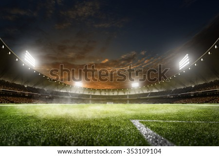Empty night grand soccer arena in the lights Royalty-Free Stock Photo #353109104