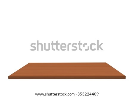 Empty top of wood unfinished american beech table or counter isolated on white background. For product display #353224409
