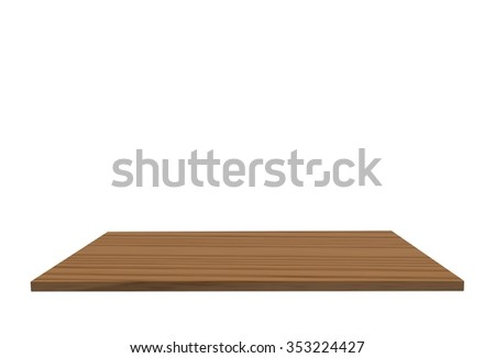 Empty top of wood polished yellow birch table or counter isolated on white background. For product display #353224427