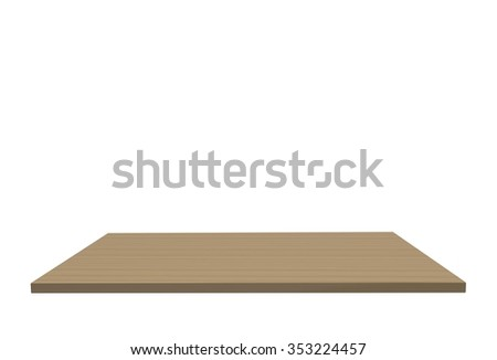 Empty top of wood polished ash table or counter isolated on white background. For product display #353224457