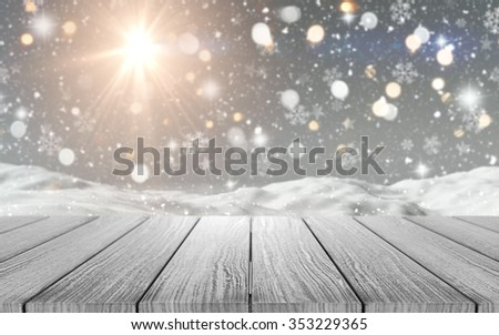 3D render of a wooden table looking out to a snowy scene #353229365